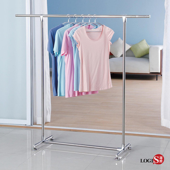 LOGIS-不鏽鋼單桿伸縮吊衣架 掛衣架 晾衣架 曬衣架【101-Z】(銀色)
