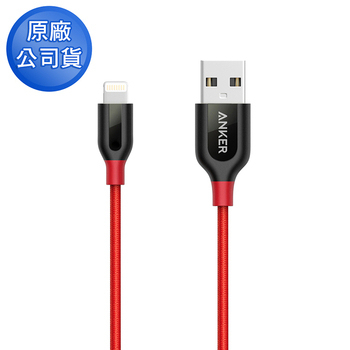 Anker PowerLine+ Lihgtning 編織充電線 90cm A8121(紅色)