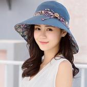 《幸福揚邑》愛心紋大帽檐抗UV防紫外線雙面配戴可摺疊 遮陽帽(藍)