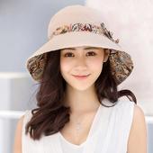 《幸福揚邑》愛心紋大帽檐抗UV防紫外線雙面配戴可摺疊 遮陽帽(米)