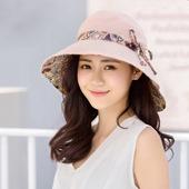 《幸福揚邑》愛心紋大帽檐抗UV防紫外線雙面配戴可摺疊 遮陽帽(粉紅)