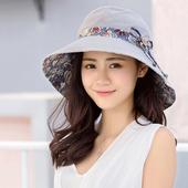 《幸福揚邑》愛心紋大帽檐抗UV防紫外線雙面配戴可摺疊 遮陽帽(淺灰)