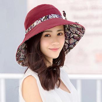 《幸福揚邑》愛心紋大帽檐抗UV防紫外線雙面配戴可摺疊 遮陽帽(酒紅)