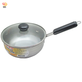 《月陽》台灣製造食品級430不銹鋼加蓋18cm單把鍋湯鍋(381642)