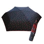 《好雅也欣》舒亦媚-抗UV防曬自動三折晴雨傘(櫻桃勾邊-黑底小紅花)