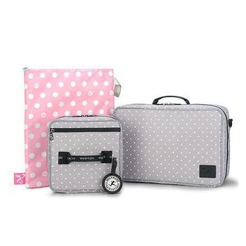 《喜舖xWild Kids》組合式旅行包(含行李包 盥洗包 防水袋 野孩子專屬名牌)4件組 灰芝麻/牛仔藍兩色可選(灰芝麻)