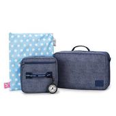 《喜舖xWild Kids》組合式旅行包(含行李包 盥洗包 防水袋 野孩子專屬名牌)4件組 灰芝麻/牛仔藍兩色可選(牛仔藍)