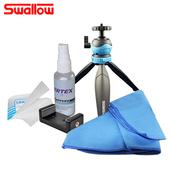 《Swallow》清潔組合6(清潔液+拭鏡紙+拭鏡包布+Minipod+手機夾)-不挑色