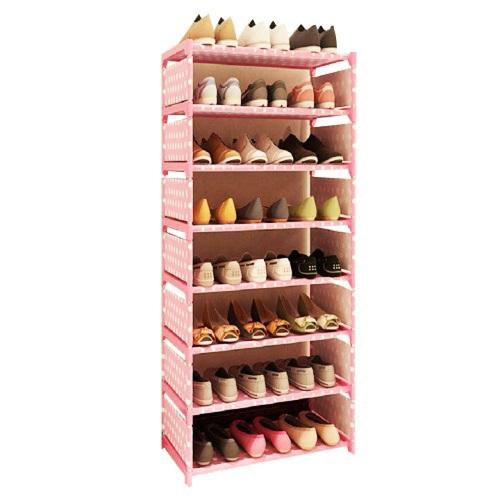 《免運》點點多彩八層簡易鞋櫃60X120X30cm(粉點點)