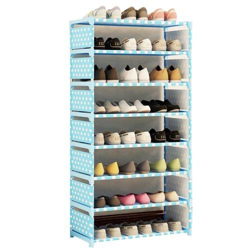 《免運》點點多彩八層簡易鞋櫃60X120X30cm(藍點點)
