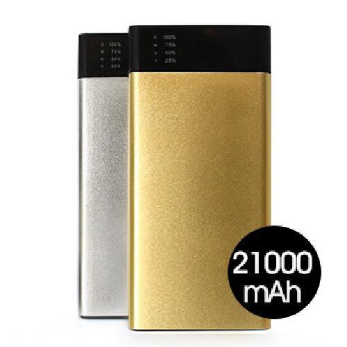 《MINIQ》雙USB輸出21000mAh行動電源MD-BP-033(銀)