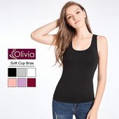 《Olivia》無鋼圈莫代爾Bra美型背心(黑色)(黑色-M)