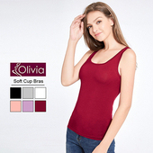 《Olivia》無鋼圈莫代爾Bra美型背心(酒紅)(酒紅-M)