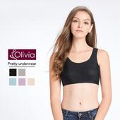 《Olivia》無鋼圈馬卡龍冰絲無痕內衣(黑色)(黑色-M)