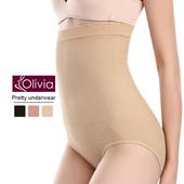 《Olivia》彈力高腰收腹提臀三角塑身褲(膚色)(膚色 M-L)