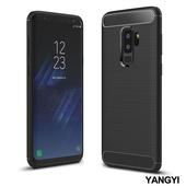 《YANGYI揚邑》Samsung Galaxy S9 plus 6.2吋 碳纖維拉絲紋軟殼散熱防震抗摔手機殼(黑)