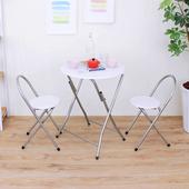 《頂堅》[耐重型]圓形折疊桌椅組/洽談桌椅組/餐桌椅組(1桌2椅)-二色可選(素雅白色)