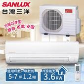 《台灣三洋SANLUX》5-7坪 變頻冷暖分離式冷氣。 一對一 /SAE-36VH7+SAC-36VH7(含基本安裝)(共同)