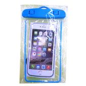 夜光警示條全透明手機PVC防水袋(藍色)