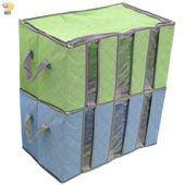 《月陽》月陽60cm彩色竹炭3格衣物收納袋整理箱超值2入(C120LN2)(綠色)