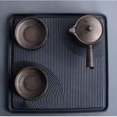 《SCENEAST》日式枯山水銅銹茶具組(附盤/收納袋)(壺容量180ML,杯子容量55ML,茶盤25*25CM)