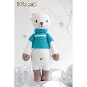 《Bobi》勾針娃娃-白色熊熊-巴比- Chubby Bobbie(40(H) WT-179ACR-M-L)