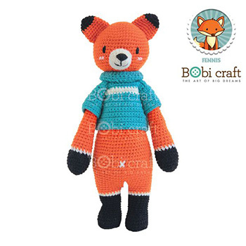 《Bobi》勾針娃娃-藍衣狐狸先生- Chubby Fennis(40(H) WT-180ORG-M-L)