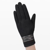 《幸福揚邑》防風觸控手套加絨保暖機車手套(皮飾男款-黑)