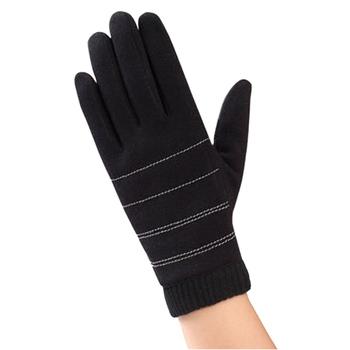 《幸福揚邑》防風觸控手套加絨保暖機車手套(螺紋男款-黑)