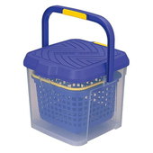 《inomata》日本製超耐重多功能洗車桶17L(藍色)