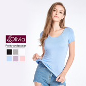 《Olivia》無鋼圈莫代爾Bra短袖T恤(藍色)(藍色-M)