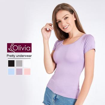 《Olivia》無鋼圈莫代爾Bra短袖T恤(紫色)(紫色-M)