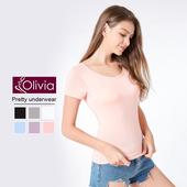 《Olivia》無鋼圈莫代爾Bra短袖T恤(粉色)(粉色-M)