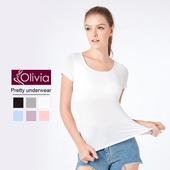 《Olivia》無鋼圈莫代爾Bra短袖T恤(白色)(白色-M)