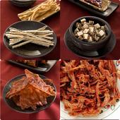 《旗聚一堂》肉乾茶點唰嘴組(黑胡椒肉乾70g/包+豬肉絲120g/包 +黑芝麻夾心絲90g+鮭魚丁角90g)(組)