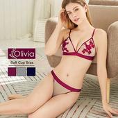 《Olivia》無鋼圈小性感舒適透膚魅惑內衣褲套組(紅色)(紅色-32/70)