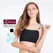 《Olivia》無鋼圈歐美冰絲無痕平口內衣(黑色)