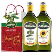 《奧利塔Olitalia》禮盒裝(純橄欖油1L + 葵花油1L)