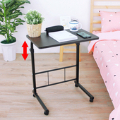 《頂堅》活動式-升降床邊桌/電腦桌/沙發前桌/餐桌-寬60x深40x高71.5-91.5/公分(深胡桃木色)