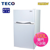 《東元 TECO》100L一級雙門小冰箱-白色R1001W(基本運送/不含拆箱定位)