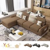 《YKSHOUSE》席拉L型獨立筒布沙發(三色可選)(咖啡色)