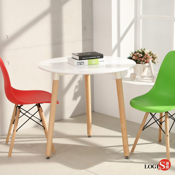LOGIS邏爵- 自然簡約北歐60CM圓形桌/ 圓桌/ 工作桌/ 書桌/ 休閒桌 C60W  C60B(黑色)