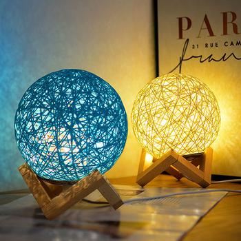藤球燈 USB小夜燈 LED氣氛燈 床頭燈 造型燈 裝飾檯燈 創意禮物(藍色)