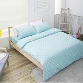 《波卡爾》點點雙人床包150X186CM(5X6.2尺)(水藍)