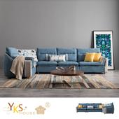 《YKSHOUSE》達文西L型乳膠布沙發