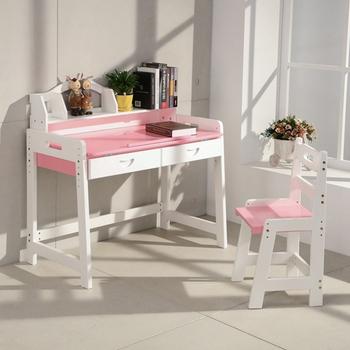 粉色80CM多段可調桌板角度 實木讀寫繪多用小學生書桌椅【BE80R】(粉紅)