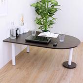 《頂堅》深80x寬120x高45/公分(PVC防潮材質)蛋頭形和室桌/矮腳桌/餐桌(二色可選)(深胡桃木色)
