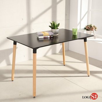 LOGIS邏爵- 自然簡約北歐寬80cm餐桌/ 長桌/ 工作桌/ 書桌/ 休閒桌 T12080B黑(黑)