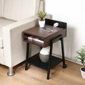 《C&B》極簡風附插座床頭櫃邊桌(深胡桃)