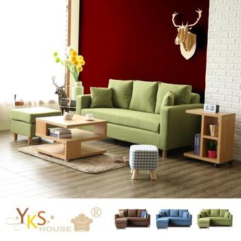 《YKSHOUSE》小資瑞恩L型布沙發-獨立筒版(三色可選)(綠色)